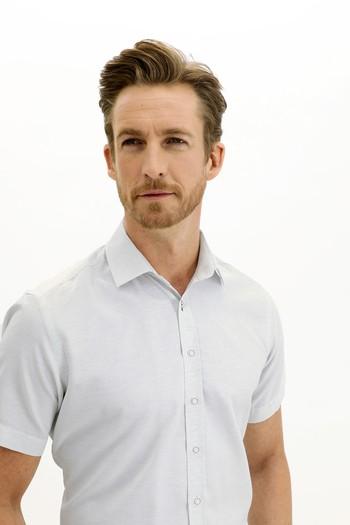 Erkek Giyim - Kısa Kol Desenli Regular Fit Gömlek