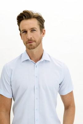 Erkek Giyim - UÇUK MAVİ L Beden Kısa Kol Regular Fit Desenli Gömlek