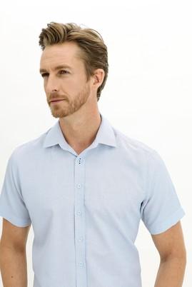 Erkek Giyim - AÇIK MAVİ L Beden Kısa Kol Regular Fit Desenli Gömlek