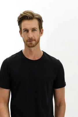 Erkek Giyim - SİYAH 3X Beden Bisiklet Yaka Slim Fit Tişört