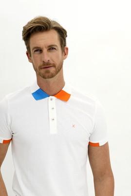 Erkek Giyim - BEYAZ L Beden Polo Yaka Slim Fit Desenli Tişört