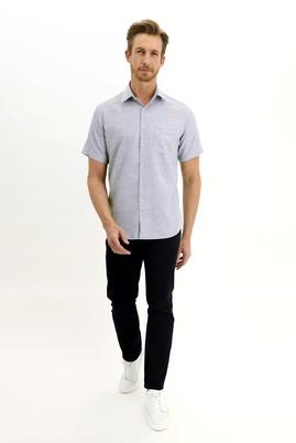 Erkek Giyim - AÇIK SİYAH 3X Beden Kısa Kol Regular Fit Desenli Spor Gömlek