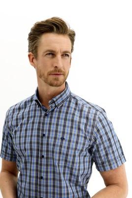Erkek Giyim - KOYU MAVİ 3X Beden Kısa Kol Regular Fit Ekose Gömlek
