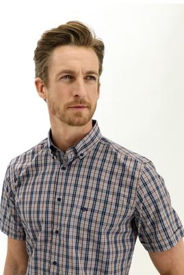 Erkek Giyim - ORTA TURUNCU XL Beden Kısa Kol Regular Fit Ekose Gömlek