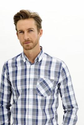 Erkek Giyim - BEYAZ 3X Beden Uzun Kol Regular Fit Ekose Gömlek