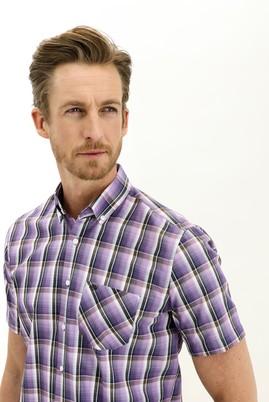 Erkek Giyim - LİLA 4X Beden Kısa Kol Regular Fit Ekose Gömlek