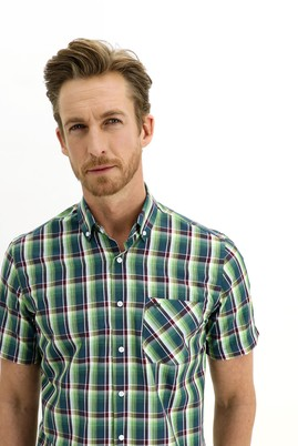 Erkek Giyim - ÇİMEN YEŞİLİ 3X Beden Kısa Kol Regular Fit Ekose Gömlek