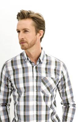 Erkek Giyim - ORTA KAHVE L Beden Uzun Kol Regular Fit Ekose Gömlek