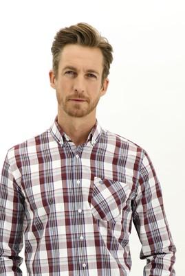 Erkek Giyim - MERCAN KIRMIZI M Beden Uzun Kol Regular Fit Ekose Gömlek