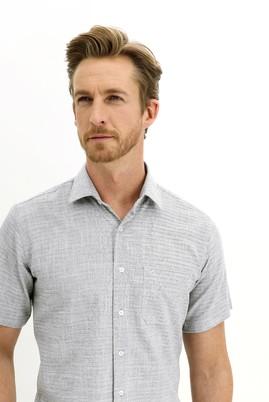 Erkek Giyim - SİYAH 3X Beden Kısa Kol Regular Fit Desenli Spor Gömlek