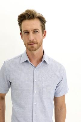 Erkek Giyim - SAKS MAVİ L Beden Kısa Kol Regular Fit Desenli Spor Gömlek