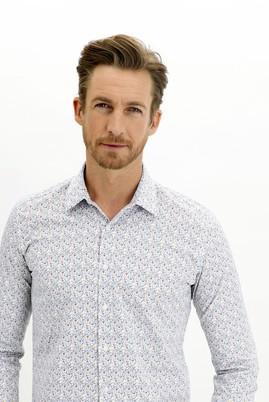 Erkek Giyim - BEYAZ L Beden Uzun Kol Slim Fit Desenli Gömlek