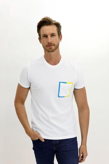 Erkek Giyim - Bisiklet Yaka Slim Fit Desenli Tişört
