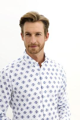 Erkek Giyim - KOYU LACİVERT 3X Beden Uzun Kol Regular Fit Desenli Gömlek