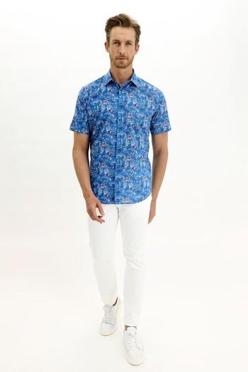 Erkek Giyim - Kısa Kol Regular Fit Baskılı Gömlek