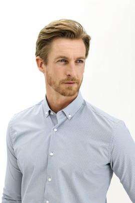 Erkek Giyim - KOYU MAVİ L Beden Uzun Kol Çizgili Slim Fit Gömlek