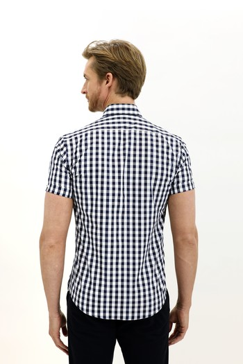 Erkek Giyim - Kısa Kol Ekose Slim Fit Gömlek