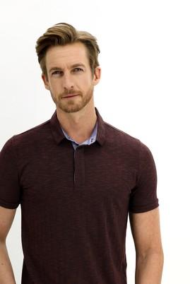 Erkek Giyim - KOYU BORDO L Beden Polo Yaka Regular Fit Tişört