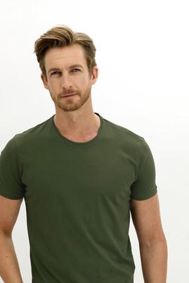 Erkek Giyim - ASKER HAKİ L Beden Bisiklet Yaka Slim Fit Tişört