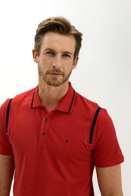 Erkek Giyim - AÇIK KIRMIZI L Beden Polo Yaka Slim Fit Desenli Tişört