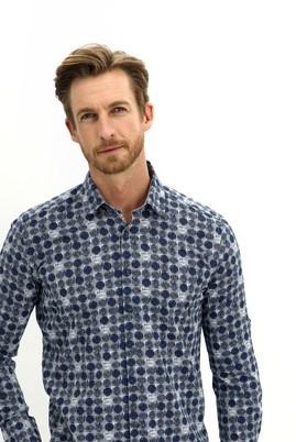 Erkek Giyim - KOYU LACİVERT L Beden Uzun Kol Baskılı Regular Fit Gömlek