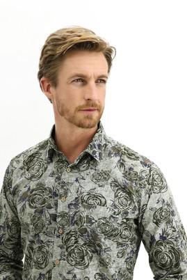 Erkek Giyim - KOYU YEŞİL 3X Beden Uzun Kol Regular Fit Baskılı Gömlek