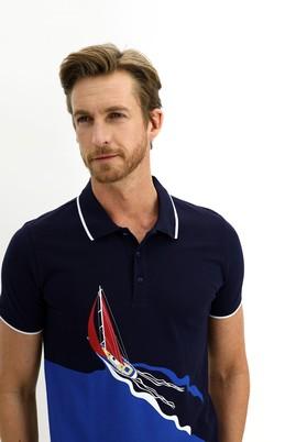 Erkek Giyim - ORTA LACİVERT L Beden Polo Yaka Slim Fit Baskılı Tişört