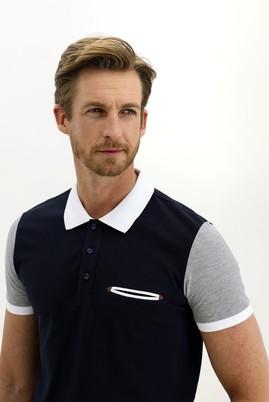 Erkek Giyim - KOYU LACİVERT L Beden Polo Yaka Slim Fit Desenli Tişört