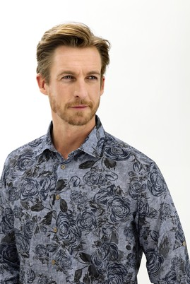 Erkek Giyim - KOYU LACİVERT L Beden Uzun Kol Regular Fit Baskılı Gömlek