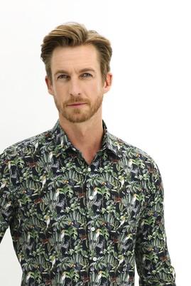 Erkek Giyim - KOYU YEŞİL L Beden Uzun Kol Slim Fit Baskılı Gömlek