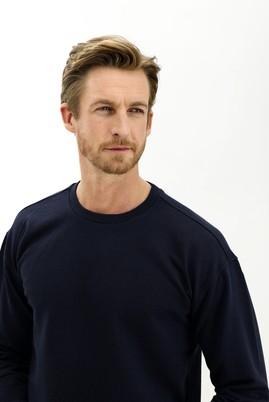 Erkek Giyim - ORTA LACİVERT M Beden Bisiklet Yaka Oversize Sweatshirt