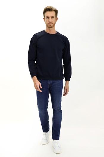Erkek Giyim - Bisiklet Yaka Oversize Sweatshirt