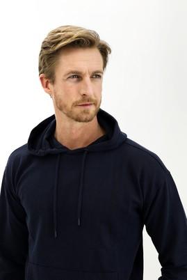 Erkek Giyim - ORTA LACİVERT L Beden Kapüşonlu Oversize Sweatshirt