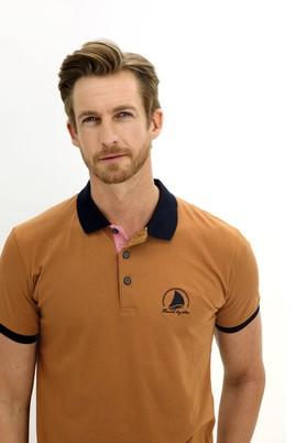 Erkek Giyim - ORTA VİZON XL Beden Polo Yaka Slim Fit Desenli Tişört