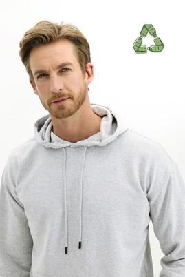 Erkek Giyim - AÇIK GRİ MELANJ M Beden Kapüşonlu Oversize Sweatshirt