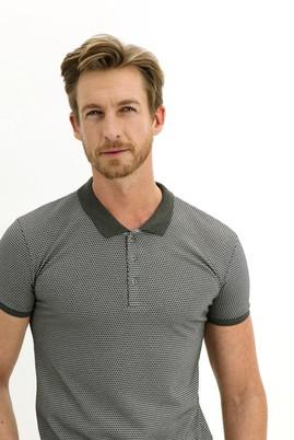 Erkek Giyim - ÇAĞLA YEŞİLİ L Beden Polo Yaka Slim Fit Desenli Tişört