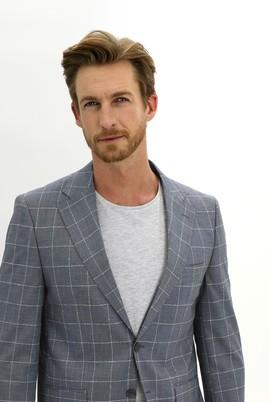 Erkek Giyim - KOYU MAVİ 50 Beden Regular Fit Kareli Ceket