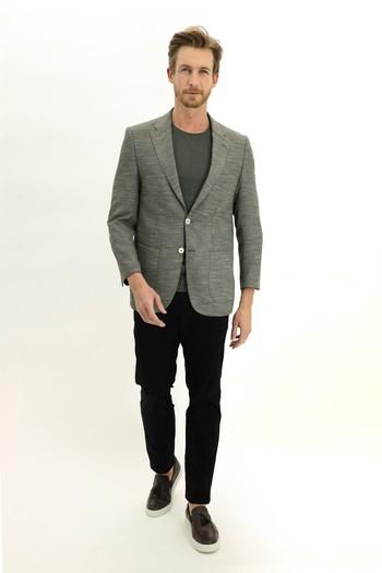 Erkek Giyim - Regular Fit Desenli Ceket