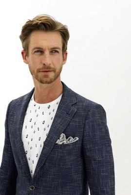 Erkek Giyim - KOYU LACİVERT 50 Beden Regular Fit Desenli Ceket