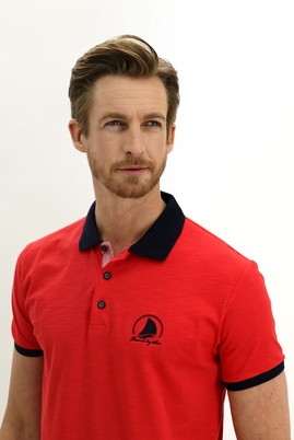 Erkek Giyim - NAR ÇİÇEĞİ XXL Beden Polo Yaka Slim Fit Desenli Tişört