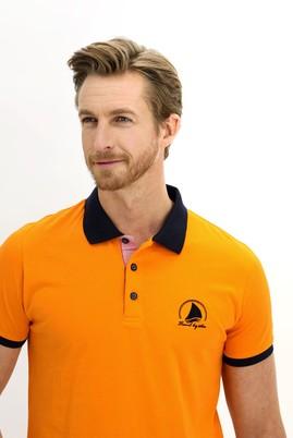 Erkek Giyim - AÇIK TURUNCU L Beden Polo Yaka Slim Fit Desenli Tişört