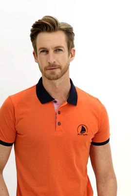Erkek Giyim - KİREMİT XL Beden Polo Yaka Slim Fit Desenli Tişört