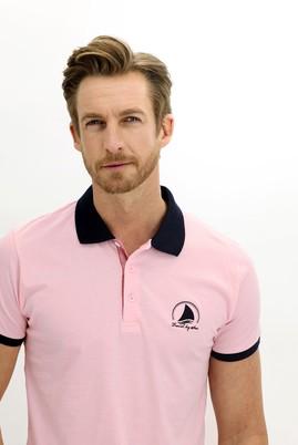 Erkek Giyim - PEMBE XL Beden Polo Yaka Slim Fit Desenli Tişört
