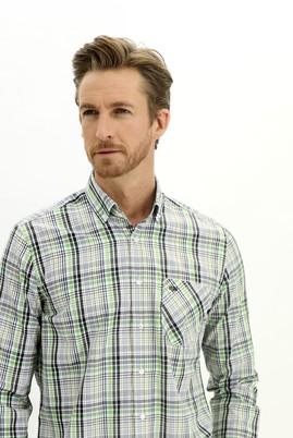 Erkek Giyim - ÇAĞLA YEŞİLİ 4X Beden Uzun Kol Regular Fit Ekose Gömlek