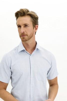 Erkek Giyim - MAVİ 3X Beden Kısa Kol Regular Fit Desenli Spor Gömlek