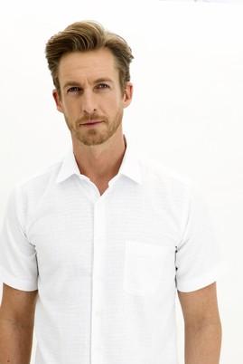 Erkek Giyim - BEYAZ 3X Beden Kısa Kol Regular Fit Desenli Spor Gömlek