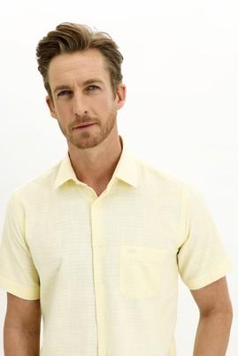 Erkek Giyim - AÇIK SARI L Beden Kısa Kol Regular Fit Desenli Spor Gömlek