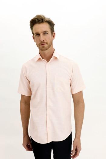 Erkek Giyim - Kısa Kol Regular Fit Desenli Spor Gömlek