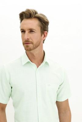 Erkek Giyim - MİNT YEŞİLİ M Beden Kısa Kol Regular Fit Desenli Spor Gömlek