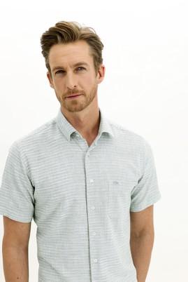 Erkek Giyim - ORMAN YEŞİLİ 4X Beden Kısa Kol Regular Fit Desenli Spor Gömlek